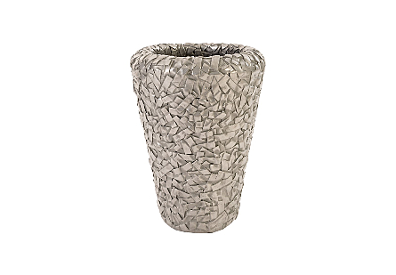 Barren Planter Small, Resin, Polished Aluminum Finish