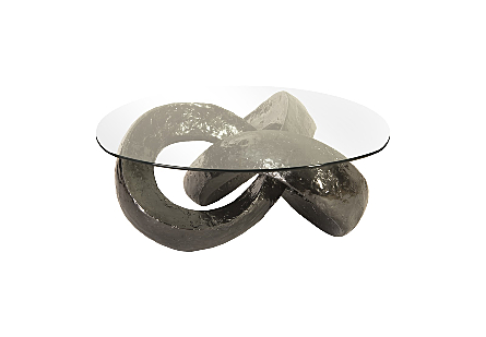 Trifoil Coffee Table Liquid Silver w/Glass