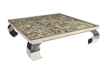 Shell Coffee Table, Glass Top, Ming Stainless Steel Legs