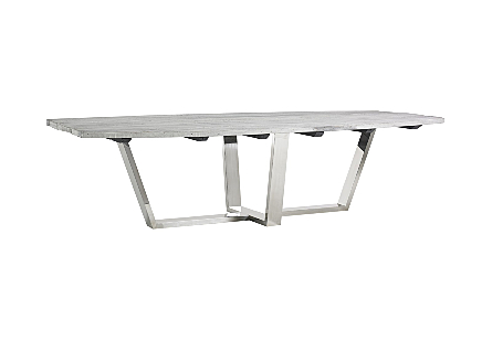 Scaffolding Dining Table Polished Stainless Steel Base