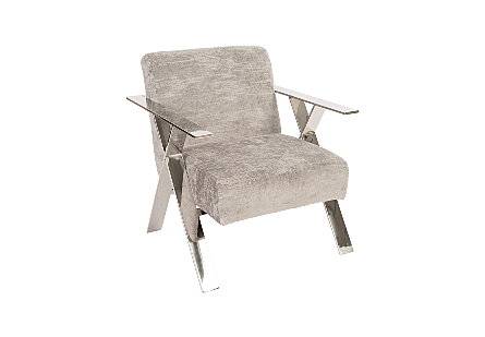 Allure Club Chair, Diva Gray  Stainless Steel Frame