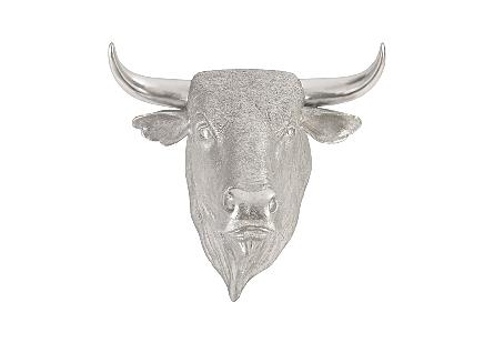 Spanish Fighting Bull Wall Art Resin, Silver Leaf