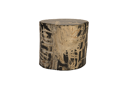 front view of the Phillips Collection Patterned Round Cast Petrified Wood Stool made of composite that is molded and finished to resemble aged wood