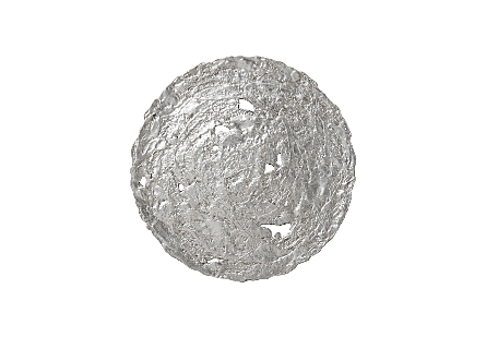 front view of the Molten Medium Silver Wall Disc by Phillips Collection a silver decorative wall sculpture made to look like textured metal