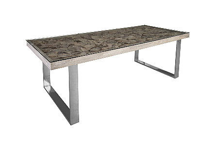 Shell Dining Table SS Base, w/Glass