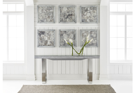 Shell Console Table, Glass Top, Stainless Steel Legs