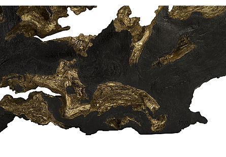 Burled Root Wall Art Large, Black and Gold Leaf