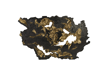 front view of the Phillips Collection Large Black Burled Root Wall Art molded to look like a burled root and covered in a black and gold finishes