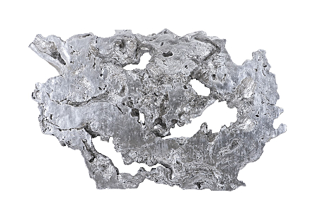 Burled Root Wall Art Large, Silver Leaf
