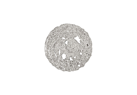 front view of the Molten Small Silver Wall Disc by Phillips Collection a silver decorative wall sculpture made to look like textured metal