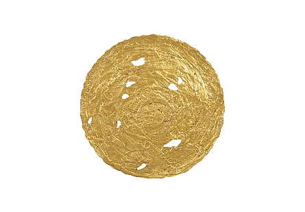 front view of the Molten Large Gold Wall Disc by Phillips Collection a gold decorative wall sculpture made to look like textured metal