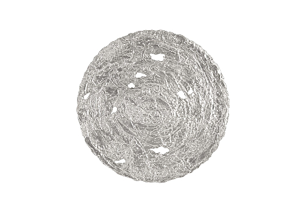 front view of the Molten Large Silver Wall Disc by Phillips Collection a silver decorative wall sculpture made to look like textured metal