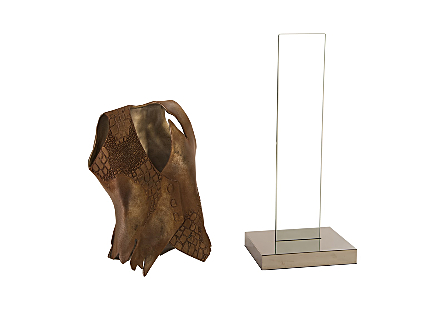 Crocodile Vest Glass Stand, Stainless Steel Base