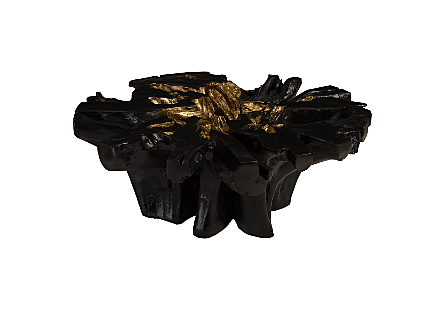 Copse Coffee Table Black, Gold Leaf