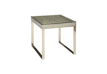 Driftwood Side Table Wood, Glass, Stainless Steel Base, Scaff Finish