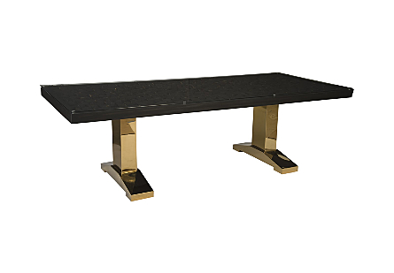 Distressed Blocks Dining Table Wood, Glass, Plated Brass Legs, Black with Gold Leaf