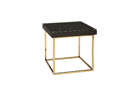 Distressed Blocks Side Table Wood, Glass, Plated Brass Base, Black with Gold Leaf