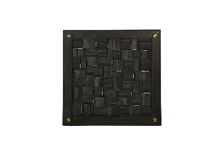 Distressed Blocks Wall Tile Wood, Glass, Black with Gold Leaf