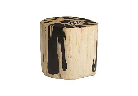 front view of the Phillips Collection Beige Round Cast Petrified Wood Stool made of composite that is molded and finished to resemble aged wood