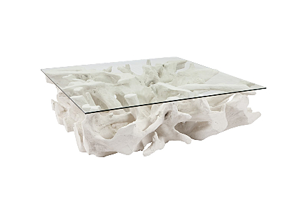 Cast Root Coffee Table, White Stone  With Glass