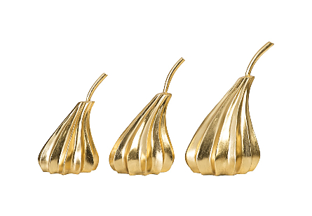 Hand Dipped Pears Set of 3 Gold Leaf