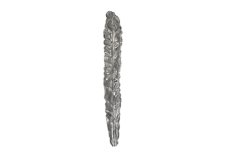 front view of the Phillips Collection Petiole Colossal Liquid Silver Wall Leaf A made of composite in a liquid silver finish and sized for rooms with high ceilings