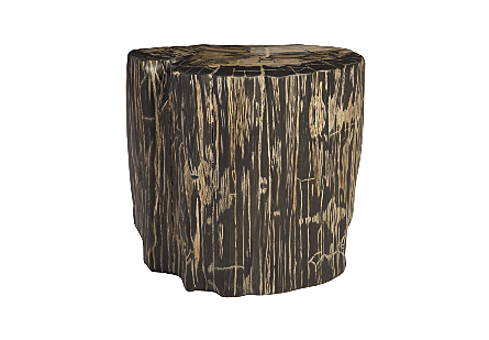front view of the Phillips Collection Striated Round Cast Petrified Wood Stool made of composite that is molded and finished to resemble aged wood