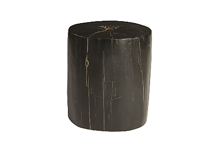 front view of the Phillips Collection Black Round Cast Petrified Wood Stool made of composite that is molded and finished to resemble aged wood