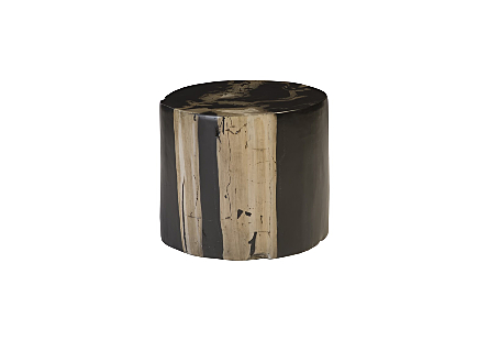 front view of the Phillips Collection Brown Round Cast Petrified Wood Stool made of composite that is molded and finished to resemble aged wood