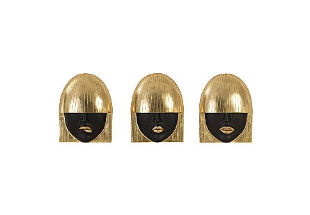 Fashion Faces Wall Art Small, Black and Gold Leaf, Set of 3