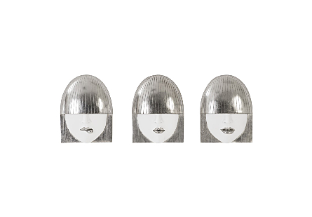 Fashion Faces Wall Art Small, White and Silver Leaf, Set of 3