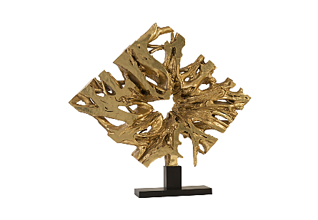 Cast Teak Root Sculpture On Base Gold leaf