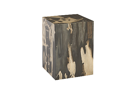 angled view of the Phillips Collection Patterned Square Cast Petrified Wood Stool made of composite that is molded and finished to resemble aged wood