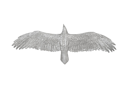 front view of the Phillips Collection Soaring Eagle Large Silver Wall Art a decorative wall sculpture made of composite in a silver leaf finish