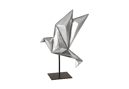 Origami Bird Table Top Sculpture Silver Leaf