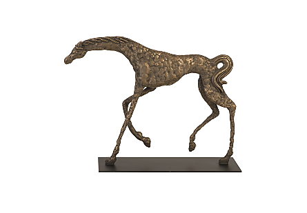 Prancing Horse Sculpture on Black Metal Base Resin, Bronze Finish
