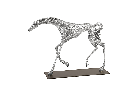 Prancing Horse Sculpture on Black Metal Base Silver Leaf