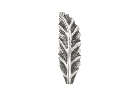 front view of the Phillips Collection Petiole Small Silver Wall Leaf A  made of composite in a silver leaf finish