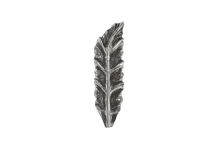 front view of the Phillips Collection Petiole Small Silver Wall Leaf B made of composite in a silver leaf finish