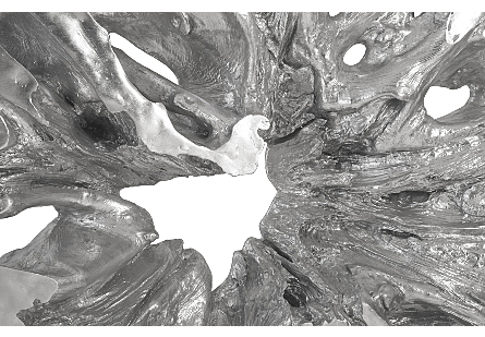 Cast Teak Root Sculpture on Base Silver