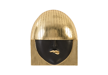 Fashion Faces Wall Art Large, Pout, Black and Gold Leaf
