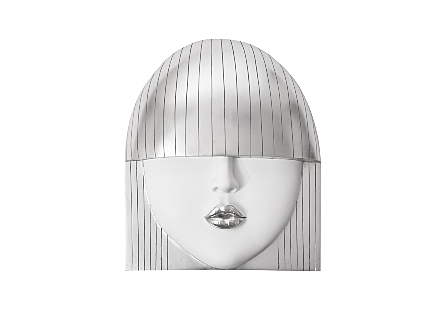 Fashion Girls Wall Face Kiss, Silver Leaf, LG