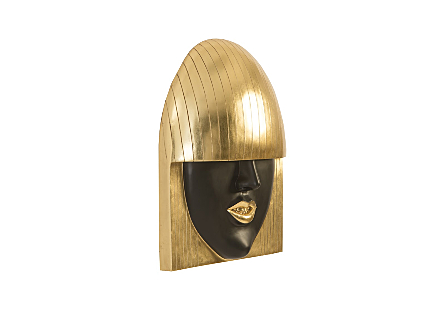 Fashion Faces Wall Art Large, Smile, Black and Gold Leaf