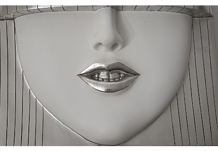 Fashion Faces Wall Art Smile, Silver Leaf, LG