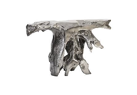 front view of Phillips Collection's Brivo Freeform Liquid Silver Console Table which looks like a tree root console table in a luminous silver leaf finish