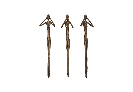 See, Speak, Hear No Evil Wall Art Resin, Bronze, Set Of 3