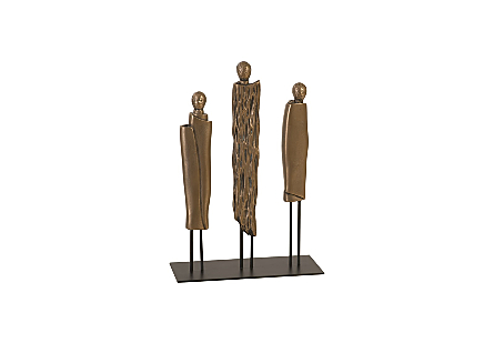 Robed Monk Trio Sculpture Resin, Bronze Finish