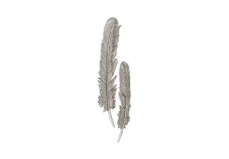 Feathers Wall Art Large, Silver Leaf, Set of 2