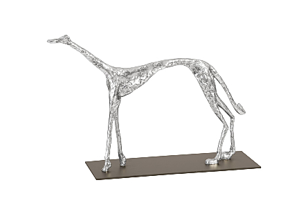 Greyhound on Black Metal Base Silver Leaf