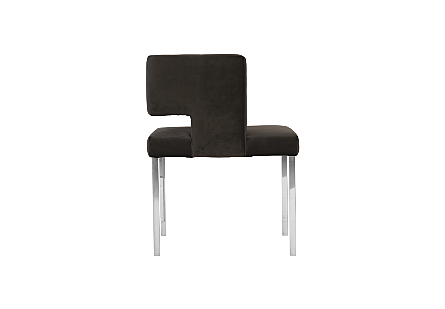 Raffia Dining Chair Black Velvet, Stainless Steel Legs